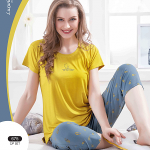 Women Printed Yellow Top, Grey Capri Set