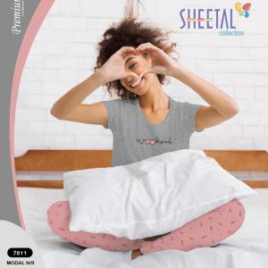 Women Grey With Peach Pyajama Set