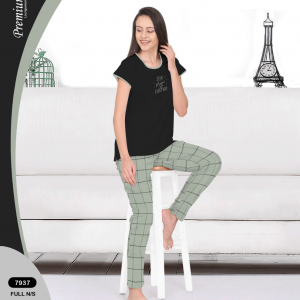 Women Black top with Olive Checks Bottom