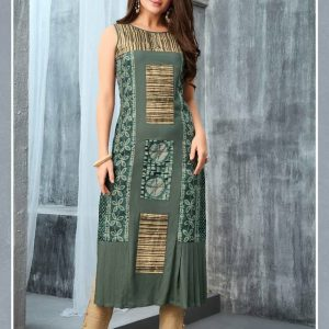 Straight Fit Printed Kurti With Embellishments