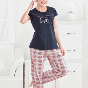 Women Navy Blue Top with Printed Pyjama Set