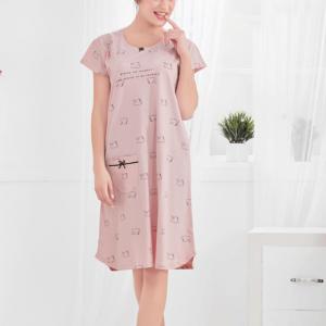 Women Peach Swan Print Mid Length Gowns
