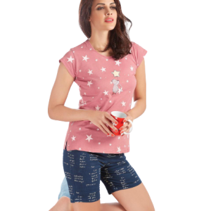 Women Fresh Pink Star With Printed Shorts Set
