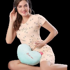 Women Peach Printed Shorts Set
