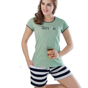 Women Green With Stripes Shorts Set