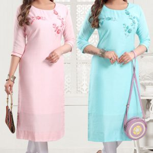 Straight Fit Pastel Kurti With Embellishments