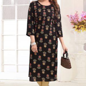 Designer Black Floral Kurti
