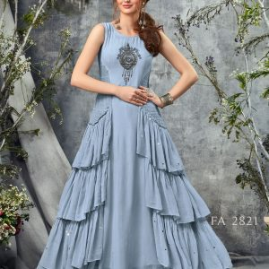 Pastel Blue Multi Layer Georgette Gown